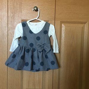 Other - Polka dot dress / tee set (Baby girl)